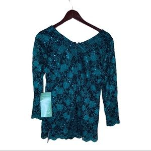 ONYX NITE SEQUIN GREEN & BLACK LACE BLOUSE NWT L